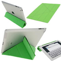View Item iGadgitz Green Faux Leather 'Cover Mate Transformer' Cover for Apple iPad 2, 3 &amp; New iPad 4 with Retina Display 16GB 32GB 64GB. With Sleep/Wake Function &amp; Magnetic Clip.